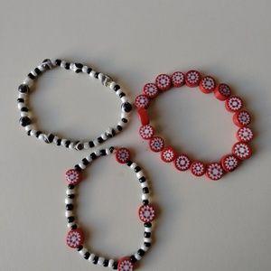 Red, Black, & White Bead Bracelet Trio